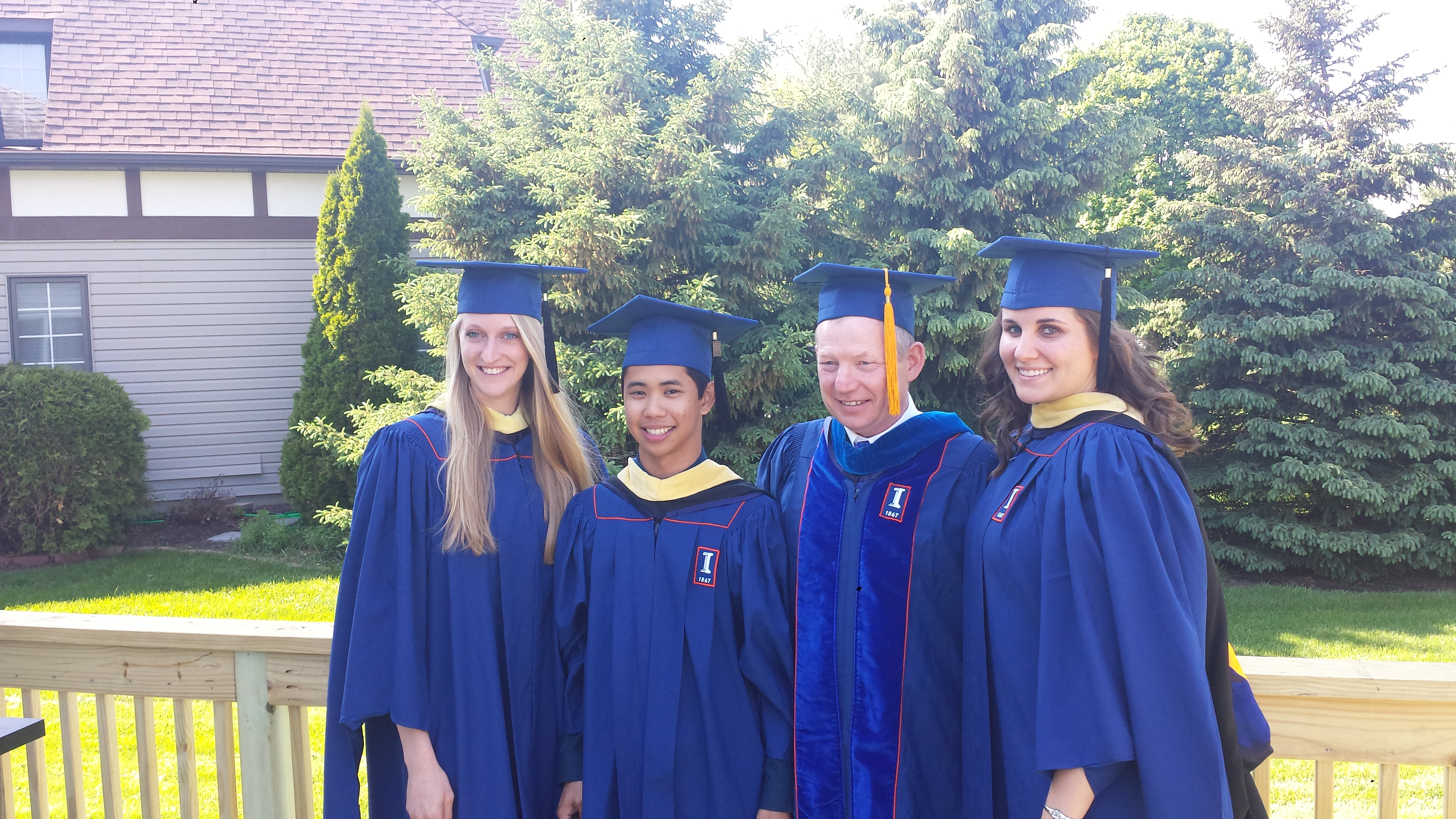 Chelsie, Diego, Dr. Stein, and Jessica celebrate Graduation.